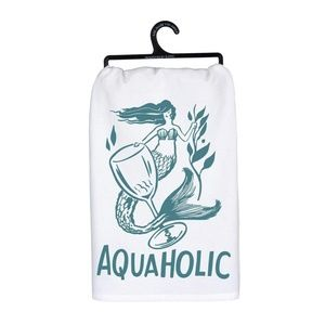 Aquaholic Mermaid Print Dish Towel in White & Teal